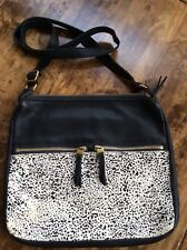 womens handbags and purses/Fossil Black Leather Animal Print Messenger Crossbody