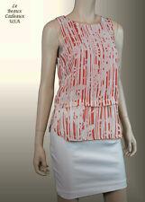 BANANA REPUBLIC Women Size 4 WHITE TANGERINE Top OVERLAY Sleeveless NWT