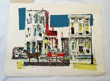 Ronald Julius Christensen mid century serigraph print vintage two old homes