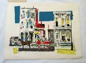 Ronald Julius Christensen mid century serigraph print vintage two old homes