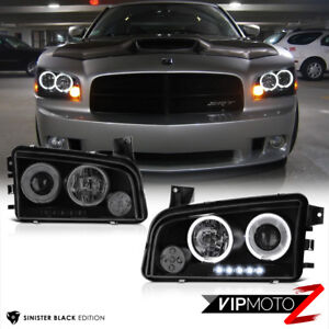 """For 06-10 Dodge Charger """"SINISTER BLACK"""" Quad Halo LED Projector Headlights Lamp"""