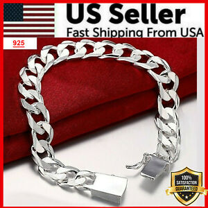 925 Sterling Silver Womens Mens Stylish Wide 10mm Bold Chain Link Bracelet D481