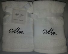 BELLA LUX Embroidered MR & MRS. Cotton Hand Towel Wedding Gift Decor White Bride