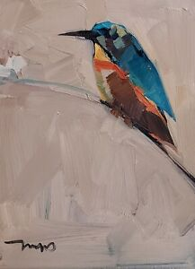 JOSE TRUJILLO Oil Painting IMPRESSIONISM 9X12 BIRD CONTEMPORARY COLLECTIBLE ART