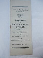 WW2  Programme Of Foot & cycle Events - Cwmcarn War Comforts  -Sept. 4th 1943