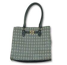 TOMMY HILFIGER Womens Blue Signature Logo Large Tote Bag Purse
