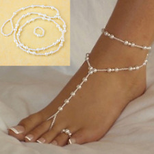 1pcs Wome's Pearl Anklet Foot Chain Toe Ring Beach Ankle Bracelet Set Jewelry