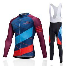 Men's Bike Clothing Set Long Sleeve Cycle Jersey Top & Long Bib Pant Kit S-5XL