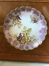 Vintage Empire China Marked Purple Grapes & Leaves w Gilt Scalloped Edge Porcela
