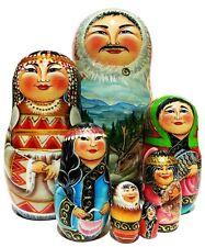 Inuit Family 7 Pc Russian Nesting Doll. Ethnic Folk Costume Alaska Elk Babushka