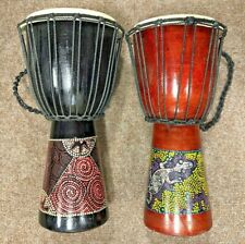2 African Style Drums, 49cm Tall, Handmade, Hand Painted, UK Seller, Free P&P