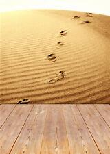 Photo Backdrop Footprint Sand Vinyl Photography Background Wooden Floor 5x7ft