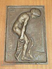 Métal médaille badge acte baigneurs Hans librement suisse HUGE ART DÈCO Medal NUDE