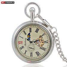 Silver Sun Moon Phase Tourbillion Windup Mechanical Pocket Watch Rome Retro Dial