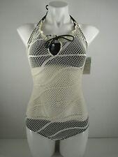 Lucky Brand Riptide One Piece Crochet Halter Bikini Camo Green Size M NWT