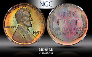 1957-D LINCOLN WHEAT CENT NGC MS 65 RB BU STRIKING TONED COLORS BOTH SIDES