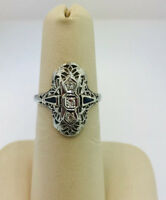 ART DECO 14k WHITE GOLD  DIAMOND ANTIQUE FILIGREE RING