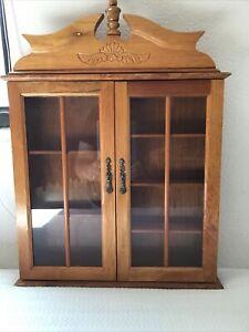 Wood Shadow Box Hanging Curio Mini Display Case 2 Glass Doors 7 Shelves