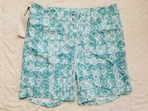 1 NWT ADIDAS WOMEN'S SHORTS, SIZE: 4, COLOR: WHITE/TEAL (J186)