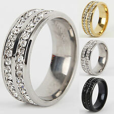 NT Unisex CZ Stainless Steel Ring Men Women Wedding Band Silver Gold Size 6-12