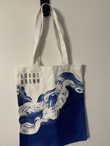 NEW!! Bobbi Brown Summer 2021 Beach Blue White Tote Bag Cotton Canvas GYM LUNCH