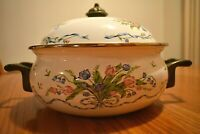 Vintage Enamel White Blue Pink Tulips Bleeding Heart Covered Handled Casserole