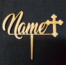 Laser Cut Wooden Cake Topper - Name  (cross)
