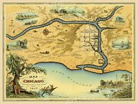 "1830s ""Map of the Town of Chicago"" Vintage Style Centennial Map - 24x32"
