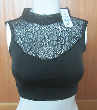 NEW Women Lace Backless Crop Bustier Strappy Tank Cami Vest Top  XSMALL XS BLACK