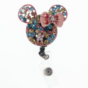 Retractable Bling Rhinestone Cartoon Animal Mouse Head ID Badge Reel Holder