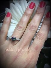 Platinum Sterling Silver White Sapphire And Mystic Topaz Pave Halo Band Ring