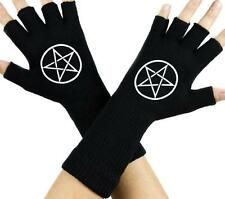 Woven Pentagram Black Fingerless Gloves Arm Warmers Gothic Metal Occult Punk Emo