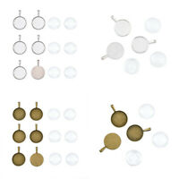 6Sets DIY Pendant Bezel Settings and Clear Glass Cabochons Multi-Color 39x27mm