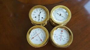 SCHATZ SHIP'S BELL CLOCK WITH BAROMETER, THERMOMETER-HYGROMETER AND CLINOMETER