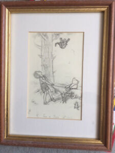 Framed Winnie The Pooh E.H Shepard Sketch Print, come on Tiger its easy