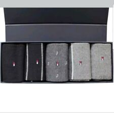 TOMMY HILFIGER MEN'S FINEST SOCKS BLACK/ GREY  5 PACK GIFTBOX 43/46 UK SIZE 9-12