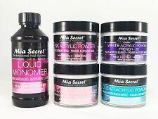 Mia Secret Liquid Monomer 4 oz & Natural Pink/Pink/White/Clear Powder 2 oz each