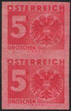 Österreich Porto Nr 162 P U Ziffern 5 Groschen ungezähnt Probedruck im Paar