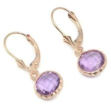 Amethyst Round Fancy Dangle Earrings,14K Rose Gold Leverbacks