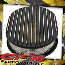 """Chevy Ford Mopar Aluminum 12"""" Oval Air Cleaner Paper Filter Polished Finned"""