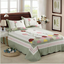 Floral Patchwork Quilted Coverlet Bedspreads Set Queen King Size Blanket Throw
