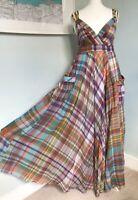 MONSOON Multicoloured Check Full Flared Maxi Dress M UK 10 12 Pockets Sundress