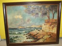 19TH CENTURY EUROPEAN OIL ON CANVAS SHOWING SEA AND TREES SIGNED BY P. WEBER