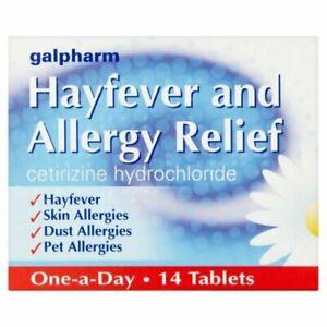 14 HAYFEVER & ALLERGY RELIEF TABLETS - CETIRIZINE HYDROCHLORIDE - SKIN - DUST