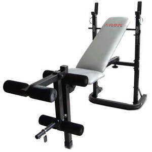 York B500 Folding Barbell Weight Bench Flat Incline Gym Lifting w/ Leg Developer