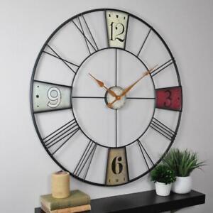 Oversized Wall Clock Metal Quartz Analog Multi-Colored Vibrant Round Classic