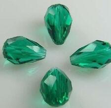30pc 8x12mm Dark green Crystal Teardrop Gems Loose Bead