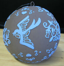 Blue & Black Ball with Doves_Kopecky Holiday Ornament_180 Degrees