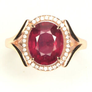 Red Ruby Oval 11x9mm White Cz 14k Rose Gold Plate 925 Sterling Silver Ring