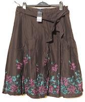 Bon Marche Black Lined Gypsy Skirt Purple & Teal Flower Sequin Detail 14 BNWT